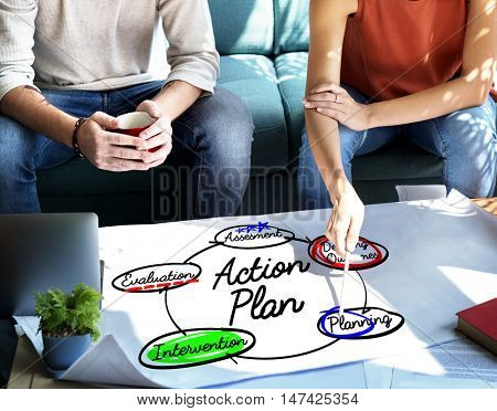 Action Plan Workflow Process Diagram Concept