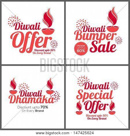 Diwali Offer Poster, Bumper Sale Banner, Diwali Dhamaka Flyer, Special Discount Offer, Set of four sale background, Indian Festival of Lights celebration concept.