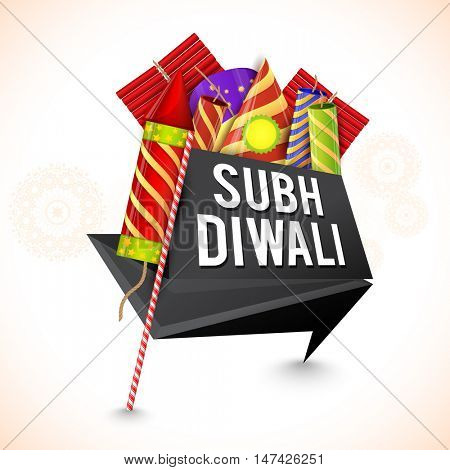 Creative Tag design with colorful firecrackers for Indian Festival, Shubh Diwali (Happy Diwali) celebration.