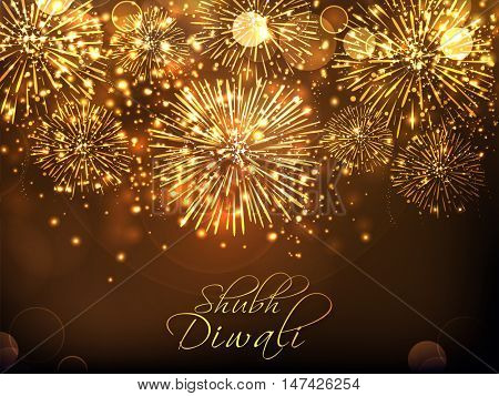 Golden sparkling festive background with firework explosion, Elegant Poster, Banner or Flyer for Indian Festival of Lights, Shubh Diwali (Happy Diwali) celebration.