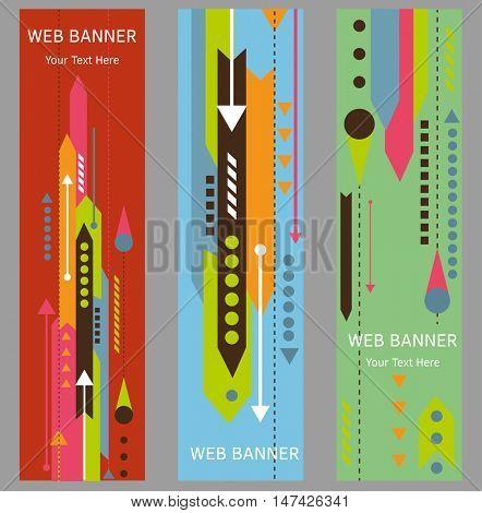 Arrow Web Banners Template. Vector Illustration.