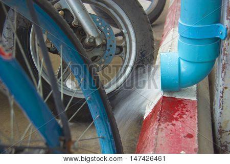 Drain rain water dropping from plastic drain pipe