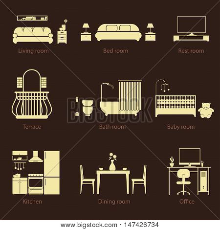 Set of home room types. Thin line style. Furniture in house. Vector icons: living, restroom, kitchen, dining, office, terace, bathroom, bedroom and baby. Illustrations isolated on white.