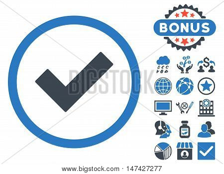Accept icon with bonus pictogram. Vector illustration style is flat iconic bicolor symbols, smooth blue colors, white background.