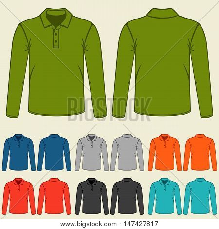 Set of colored polo t-shirts templates for men.