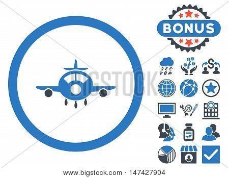 Aircraft icon with bonus pictogram. Vector illustration style is flat iconic bicolor symbols, smooth blue colors, white background.