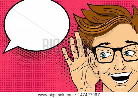 Young Surprised  Happy Man Listening With Open Mouth. Vector Illustration In Retro Pop Art Comic Sty