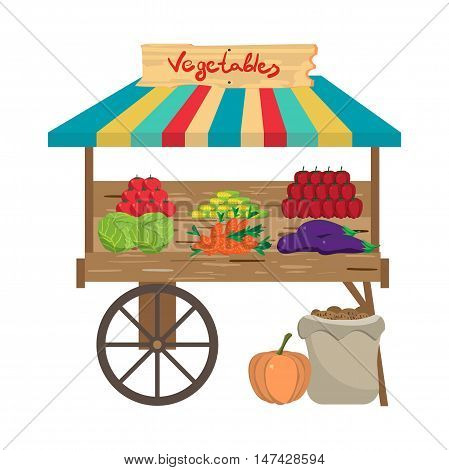 Local farmers market. Seller fresh natural product vegetables. Village vegetarian food for a healthy lifestyle shop. Cartoon flat vector illustration isolated on white background