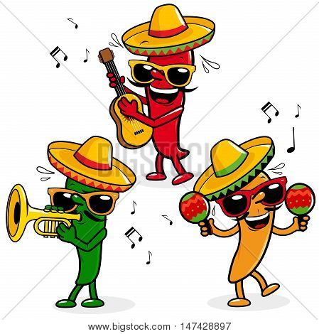 Cartoon hot mariachi peppers wearing sombreros and playing music.