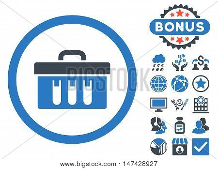 Analysis Box icon with bonus pictogram. Vector illustration style is flat iconic bicolor symbols, smooth blue colors, white background.