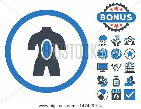 Anatomy icon with bonus pictures. Vector illustration style is flat iconic bicolor symbols, smooth blue colors, white background.