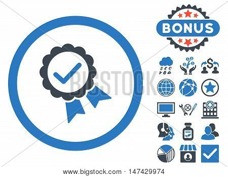 Approved icon with bonus images. Vector illustration style is flat iconic bicolor symbols, smooth blue colors, white background.