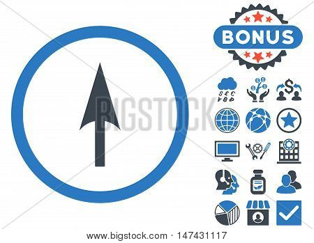 Arrow Axis Y icon with bonus design elements. Vector illustration style is flat iconic bicolor symbols, smooth blue colors, white background.