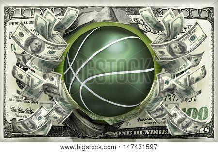 Basketball With Money 3D Illustration