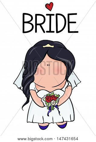 bridal shower. cute girl in wedding dress hending flowers. print on t-shirt. Bachelorette party. red heart. banner or sticker.