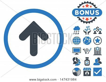 Arrow Up icon with bonus design elements. Vector illustration style is flat iconic bicolor symbols, smooth blue colors, white background.
