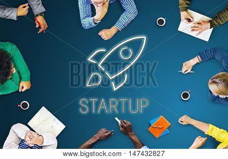 Startup Launch Business Goals Rocketship Concept