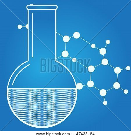 Laboratory icon. Chemical reaction. Abstract science object. Vector illustration.