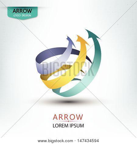 Triple Arrow Concept Logo Design Round Shape Vector