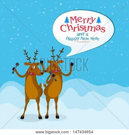 Cute reindeer on sky blue background for Merry Christmas and Happy New Year celebration.
