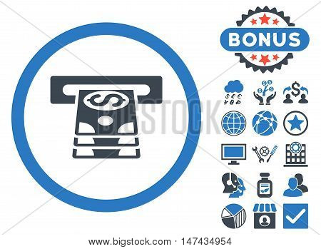 Bank Cashpoint icon with bonus design elements. Vector illustration style is flat iconic bicolor symbols, smooth blue colors, white background.