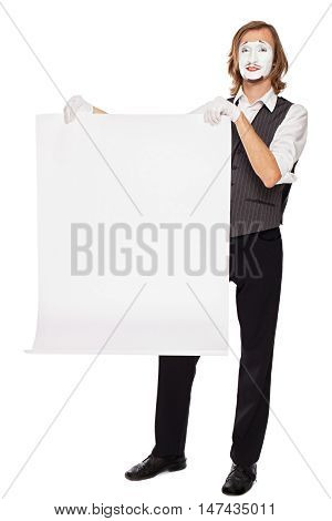 mime actor shows a white blank sheet