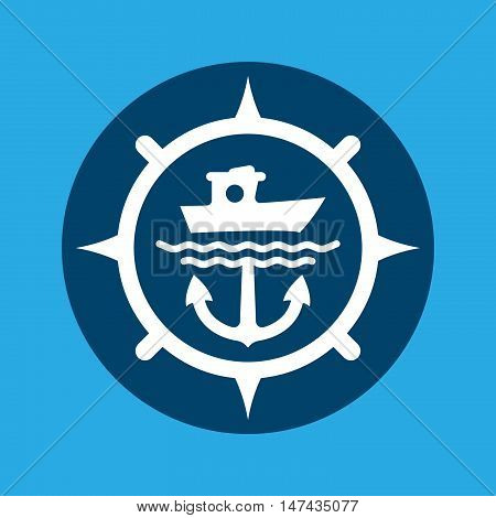 Fishing and sailing icon, marine and nautical, anchor, boat, ship and sea