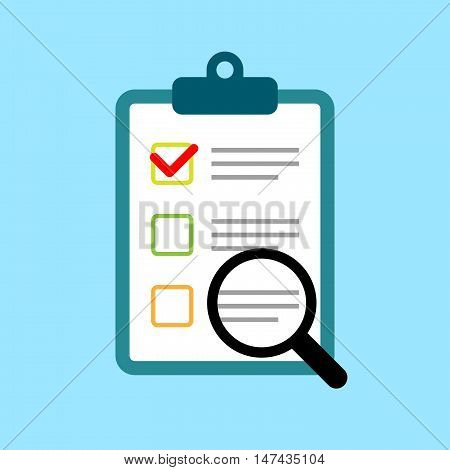 Clipboard with survey, quiz or report. Focus group response. Flat design document form.