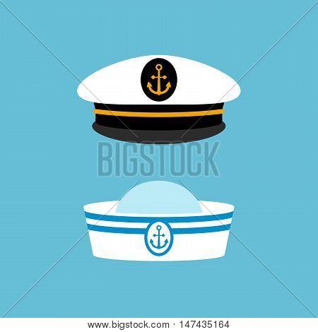 Sailor hat set, marine captain clothing, modern graphic design