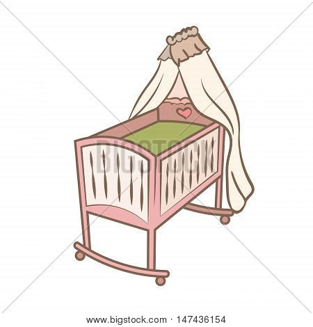 Baby cradle doodle illustration. color handdrawn icon. isolated on white. child bed. kids badroom