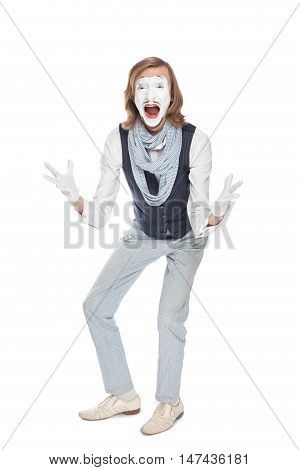 actor mime shows unbridled joy raising his arms and shouting amazement