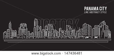 Cityscape Building Line art Vector Illustration design - Panama city