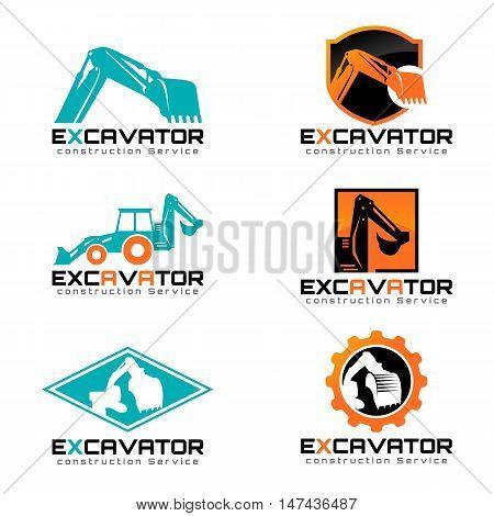 Excavator and backhoa logo vector illustration set design