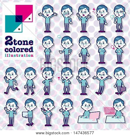 Set of various poses of Blue clothing glass dad 2tone