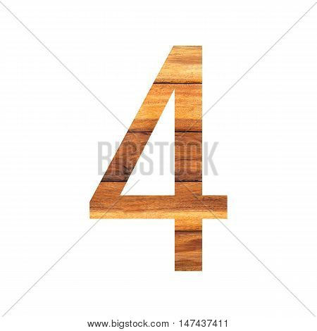 Number 4 ( four ) with vintage wood texture background.