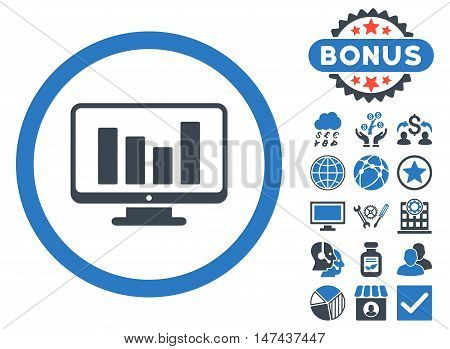 Bar Chart Monitoring icon with bonus images. Vector illustration style is flat iconic bicolor symbols, smooth blue colors, white background.