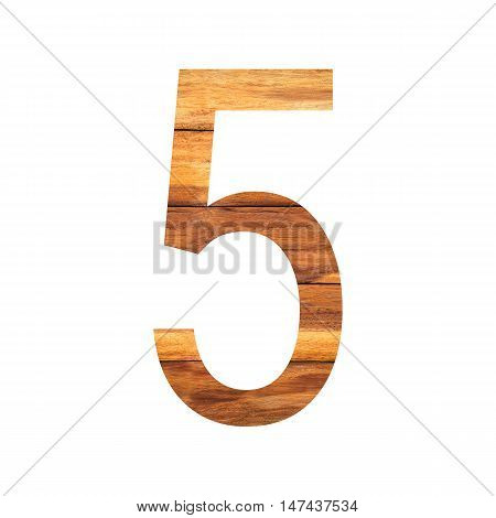 Number 5 ( five ) with vintage wood texture background.