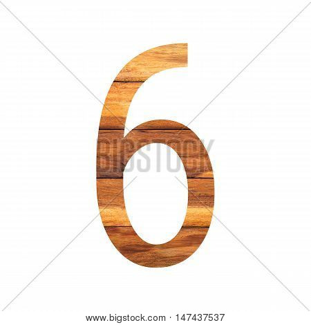Number 6 ( six ) with vintage wood texture background.