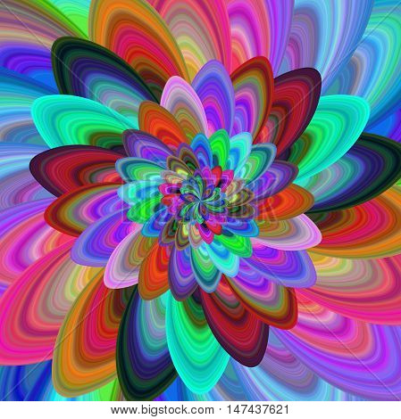 Crazy flower - colorful abstract computer generated vector fractal background