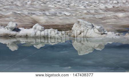 Scene on the Glacier de Diablerets Swiss Alps. Melting glacier.