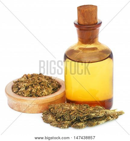 Medicinal cannabis with extract oil in a bottle over white background