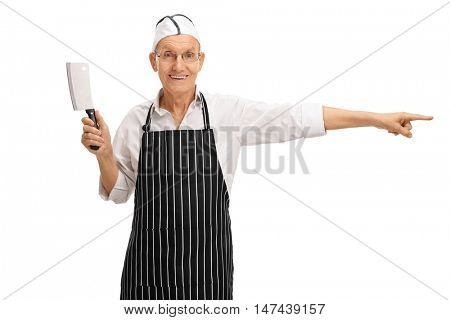 Mature butcher holding a cleaver and pointing isolated on white background