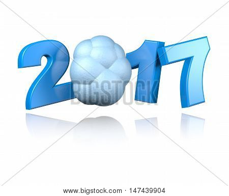 3D illustration of Cloud 2017 design with a White Background