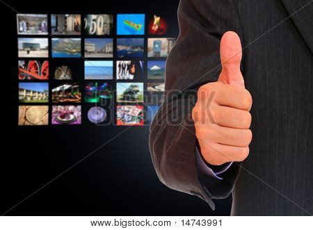 Businessman  over perspective TV screen wallpaper