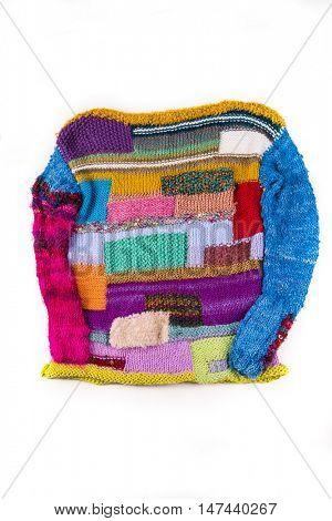 striped colorful wool texture handmade patten closeup macro blue red green yellow pink golden purple PULLOVER JUPPER