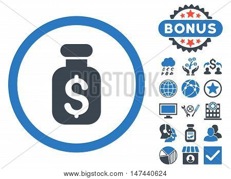 Business Remedy icon with bonus symbols. Vector illustration style is flat iconic bicolor symbols, smooth blue colors, white background.