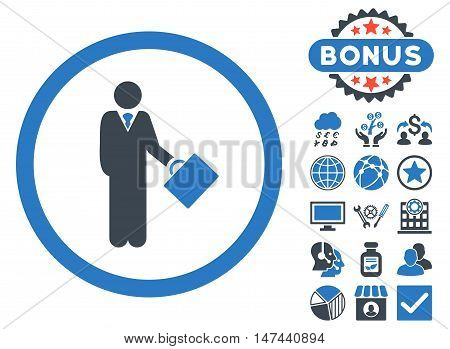 Businessman icon with bonus design elements. Vector illustration style is flat iconic bicolor symbols, smooth blue colors, white background.
