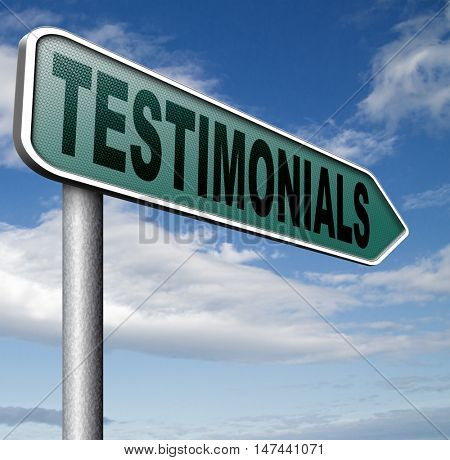 testimonials customer feedback testimonial or leave a comment arrow sign 3D illustration