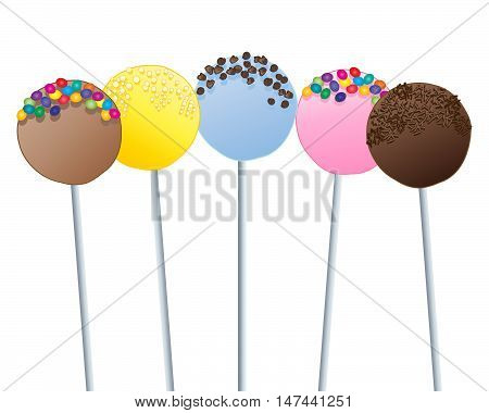 an illustration of novelty cake lollipops with various decorations including chocolate strands and candy beans on a white background