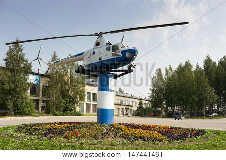 Helicopter`s monument in airport Uchta Russia 19.07.2016